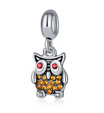 925 Silver Owl European CZ Crystal Charm Spacer Beads Fit Necklace Bracelet ///
