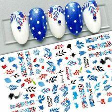 Nail Art Stickers Decals Christmas Snowflakes Fern Berries Mistletoe Tree (F798)