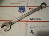 "Vtg Wright Tools 1130 15/16"" Combination Box Open End Wrench 12"" Long USA 12 Pt"