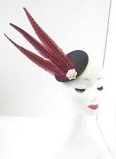 Rot & Schwarz Fasan Feder Kopfschmuck Pearl Kopfstück Vintage Rennen