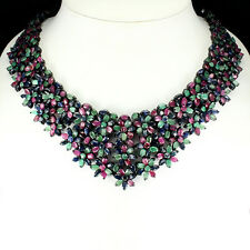 Special Item Natural Red Ruby Emerald Sapphire 925 Silver Big Necklace 17 Inches