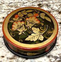 Vtg Russian Folk Art Khokhloma Lacquered Hand Painted Wood Trinket Jewelry Box