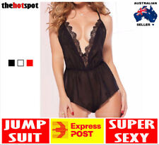 Sexy Lace Erotic Transparent Lingerie Jumpsuit One Piece Teddy Sheer FAST POST