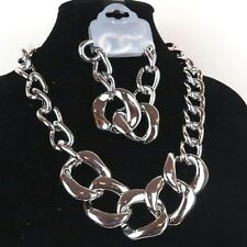 """Silver Color Chain Matinee Necklace & Bracelet Fashion Jewelry 24"""" - New"""