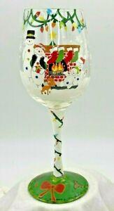 """Jeweled Lolita Christmas Wine Glass """"No Place Like Home"""" Snowman Family Xmas"""