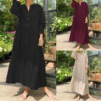 Oversize Femme Casual en vrac Coton Manche Longue Boutons Loose Robe Dresse