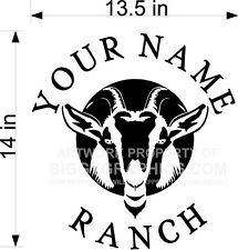 CUSTOM VINYL DECAL YOUR NAME RANCH GOAT CLOSE UP