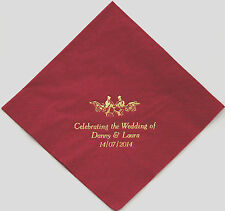 75 Napkins Choice of 10 colours 3 lines + Motif Personalised for your Wedding
