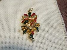 """Beautiful Holiday Pendant Christmas Bells Bow Red Grn Enamel 2 1/4 x 1 1/8"""" NICE"""