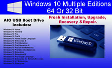 Windows 10 64Bit Multiple Editions Bootable USB Drive Install Recovery Repair
