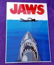 Jaws 3D sign Art new raptor Dinosaur Megalodon movie Spielberg classic poster