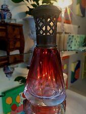 Très Belle Ancienne Lampe BERGER Pyramide en Cristal  Rouge