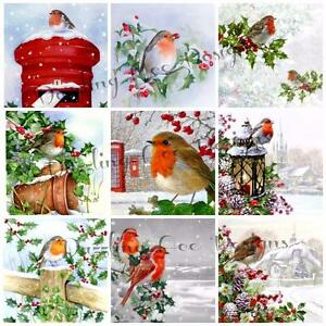 ROBINS IN SNOW AT CHRISTMAS (18), Card Making Toppers, Card Embellishments