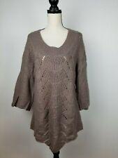 Old Navy Maternity Brown/Metallic Pullover Tunic Crochet Sweater, Size Medium