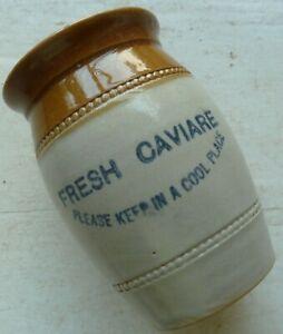 Barrel shaped FRESH CAVIARE pot crock C 1900s