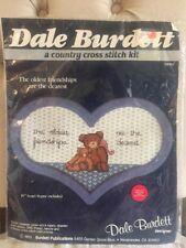 "New Dale Burdett Country Cross Stitch Kit CK235 10"" Heart Frame Bears Friendship"