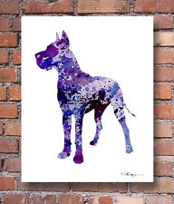 Purple GREAT DANE Contemporary Watercolor ART Print by Artist DJR
