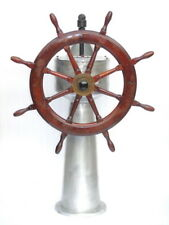 Huge Vintage John Hastie & Co. Greenock Ships Wooden Steering & Aluminum Station