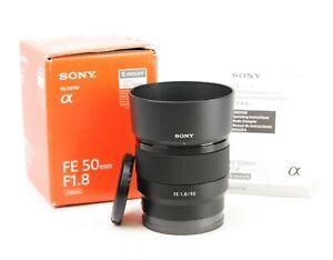 Sony FE 50mm F1.8 E Full Frame AF Prime Lens + Front & Rear Caps + Hood +Box EXC
