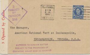 "AUSTRALIA 1943 George VI 3 1/2P censorshipcover ""3 / PASSED / BY / CENSOR / 315"""