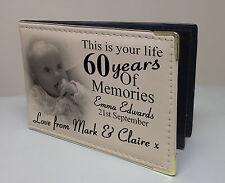 Personalised photo album, 60 year memory book, birthday christmas gift present