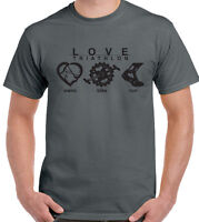 Love Triathlon - Mens T-Shirt Cycling Running Swimming Ironman Sport Bike Kit