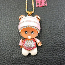 Pink Cute Rhinestone Hat Pacifier Baby Pendant Betsey Johnson Chain Necklace