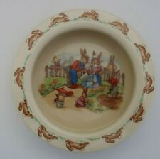 vintage ROYAL DOULTON Barbara Vernon BUNNYKINS BOWL Gardening Rabbit family sign