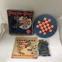 1929 Puzzle-Peg Lubbers & Bell Clinton Iowa Game Board Pegs & Box T109