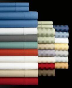 Cozy Bedding Sheet Set 4 PCs OR 6 PCs Egyptian Cotton US Sizes Solid/Strip Color