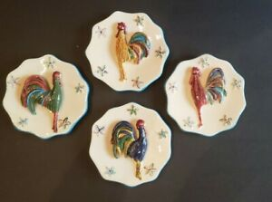 "Set of 4 MWW Market Cindy Shamp 4.5"" Mini Rooster Plates 3D Hanging Wall Decor"