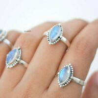 Rainbow Moonstone Ring Solid 925 Sterling Silver Ring Handmade Ring Size All EE3
