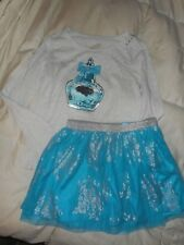 Girls Justice Gray/Teal Happy Perfume Silver Lace Skirt Outfit Size 10-12