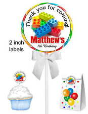40 LEGO BIRTHDAY PARTY FAVORS LOLLIPOP STICKERS