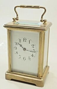 ANTIQUE BRASS FRENCH CARRIAGE SHELF CLOCK
