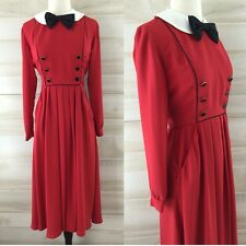 Vintage 80s red tuxedo dress double breasted bow tie secretary career XXS XS