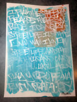 Peinture unique signée - graffiti contemporain street art dessin tableau canvas