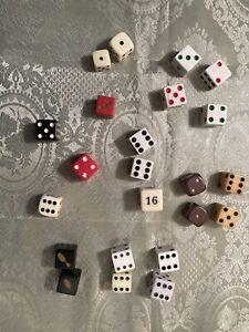 23 VINTAGE Dice Di Backgammon Bowling Pins Multi Color different sizes Bakelite?