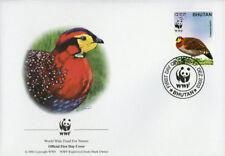 WWF  UCCELLI  FDC BHUTAN BUSTA PRIMO GIORNO 2003 FAGIANI 3/4
