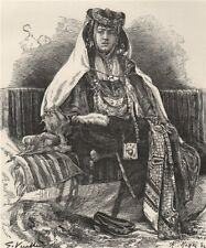 A Nail Arab woman. Algeria 1885 old antique vintage print picture