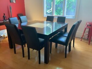 8 seater square table with 10 leather chairs