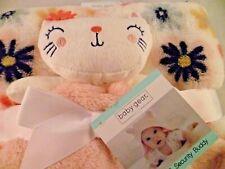 Baby Gear Blanket & Security 2 Pc Pink Kitten Cat White Blue Flower Plush Lovey