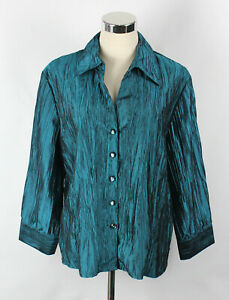 LIZ JORDAN Sz L Blouse Shirt Top Teal Green Crinkle 3/4 Sleeve V Neck Button Up