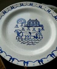 Metlox Poppytrail USA Provincial Blue White & Blue Speckled charger chop Plate