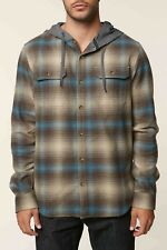 O'Neill Cultivate Mens Button Front Hoodie Flannel Shirt M Khaki 2018