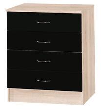 Alpha Black Gloss & Sanremo   4 Chest Of Drawers   Modern Furniture Unit