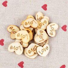 100PCS Wood crafts heart love blank ornaments wedding supplies natural b49
