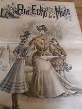 """""""""""ANCIEN LE PETIT ECHO DE LA MODE AVEC PATRON """"ROBE MADELEINE """"MARS 1905 N°13"""