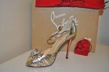 NIB Christian Louboutin Marchavekel Knot d'Orsay Sandal Shoe 39 - 8.5 Silver