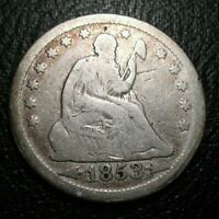 OLD US COINS SILVER 1853 SEATED LIBERTY SEATED QUARTER ARROWS AND RAYS